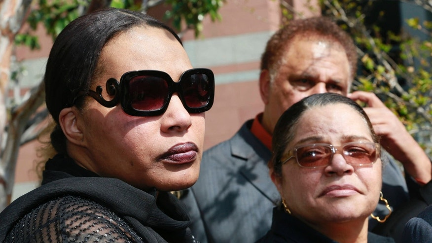 March 10, 2015: Marvin Gaye's daughter, Nona Gaye, left, and his ex-wife, Jan Gaye, take questions from the media outside Los Angeles U.S. District Court.