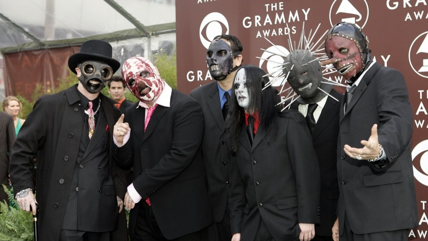February 13, 2005. Members of the band Slipknot arrive at the 47th annual Grammy Awards in Los Angeles.