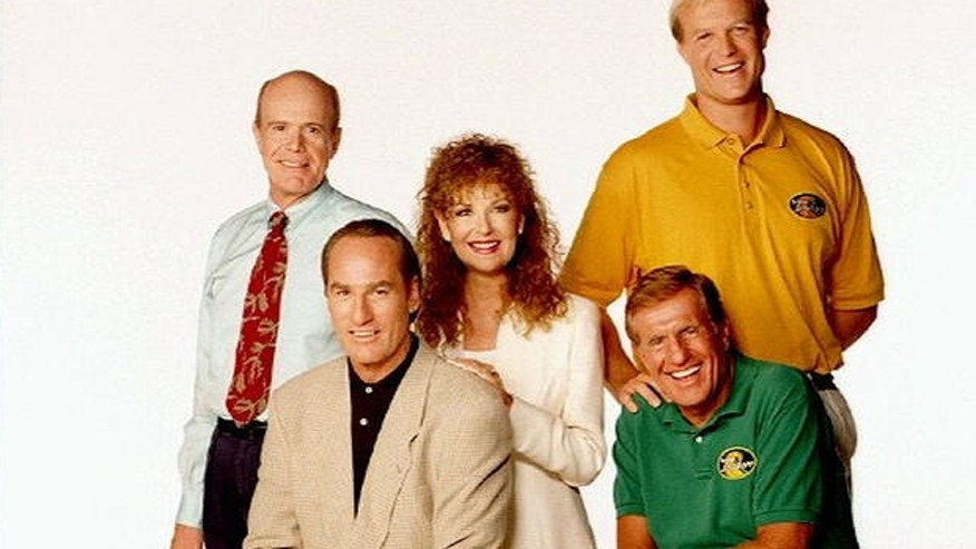 "The cast of ""Coach"" (l-r): Kenneth Kimmins, Craig T. Nelson, Shelley Fabres, Jerry Van Dyke and Bill Fagerbakke, photo"