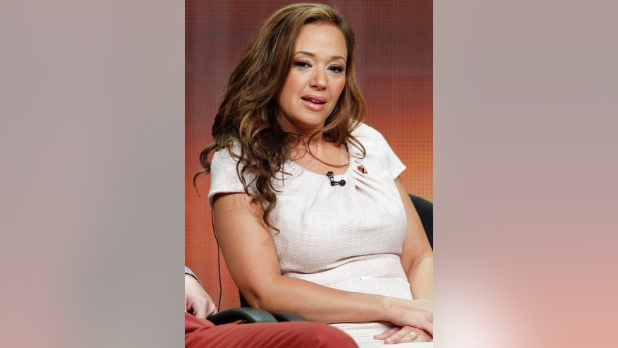 "Actress Leah Remini, star of the new comedy series ""Family Tools"" speaks during a panel discussion at the Disney-ABC Television Group portion of the Television Critics Association Summer press tour in Beverly Hills, California July 27, 2012."