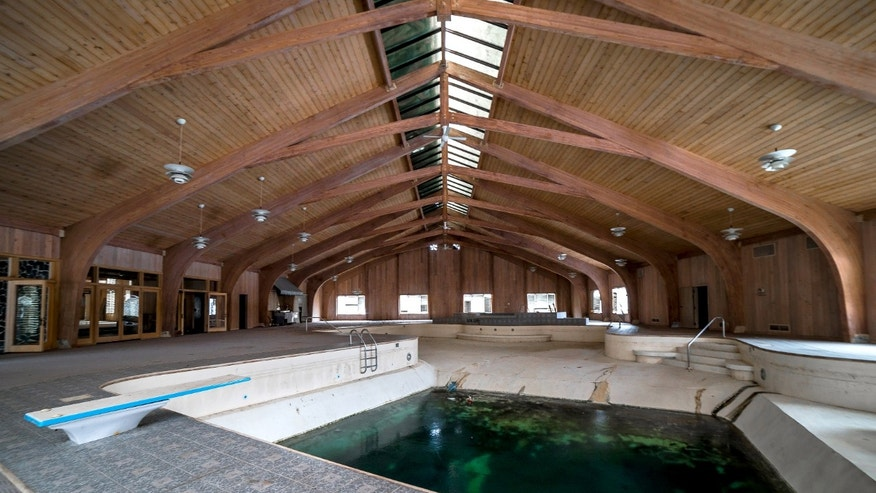 The swimming pool room of Mike Tyson's abandoned mansion.
