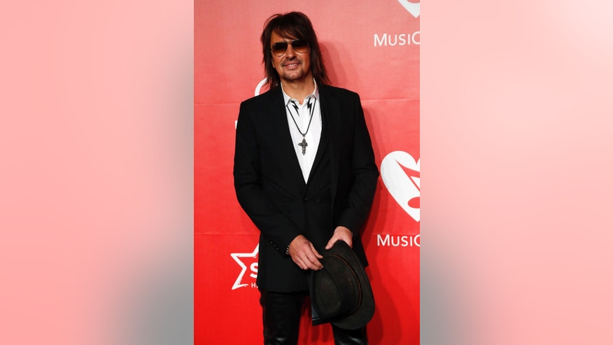 February 6, 2015. Musician Richie Sambora arrives at the 2015 MusiCares Person of the Year tribute honoring Bob Dylan in Los Angeles, California.