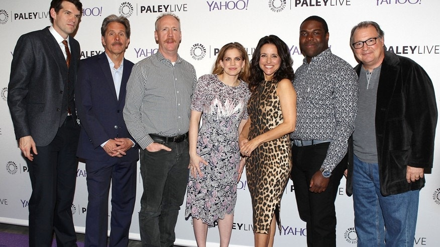 "The stars of HBO's ""Veep"" pose on the red carpet at the Paley Center for Media in New York City, April 7, 2015. From left: Timothy Simons, Gary Cole, Matt Walsh, Anna Chlumsky, Julia Louis-Dreyfus, Sam Richardson and Kevin Dunn."