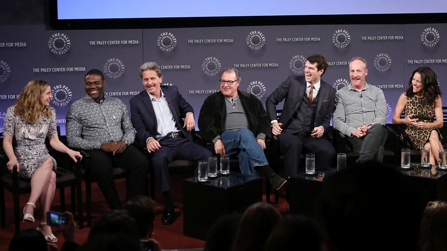 "The Paley Center for Media Hosts an Evening with the Cast of ""Veep"" April 7, 2015. From left: Anna Chlumsky, Sam Richardson, Gary Cole, Kevin Dunn, Timothy Simons, Matt Walsh and Julia Louis-Dreyfus."