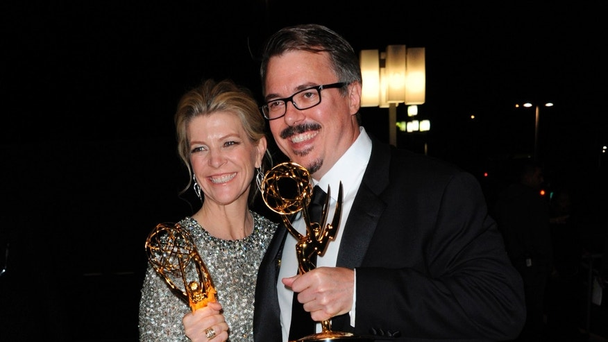"FILE - This Sept. 22, 2013 file photo shows, from left, Executive Producer Michelle MacLaren and Producer/ Creator Vince Gilligan of ""Breaking Bad"" at the Governors Ball at the 65th Primetime Emmy Awards at Nokia Theatre in Los Angeles. MacLaren, a prolific television director known for her work on Breaking Bad, The Walking Dead, and Game of Thrones, has departed the comic book film, Wonder Woman and its development, due to creative differences, Warner Bros. announced Monday, April 13, 2015. (Photo by Richard Shotwell/Invision/AP, File)"
