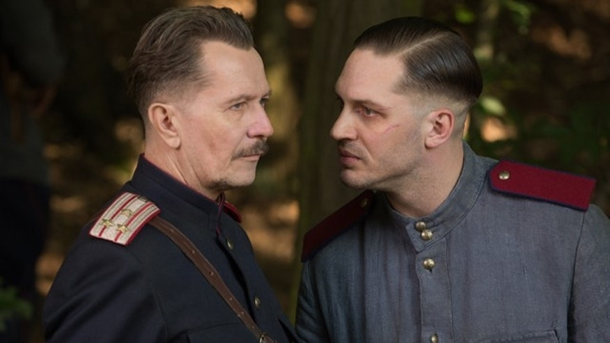 In this image released by Lionsgate, Gary Oldman, left, and Tom Hardy appear in a scene from the film, 'Child 44'. (Larry Horricks/Lionsgate by AP)