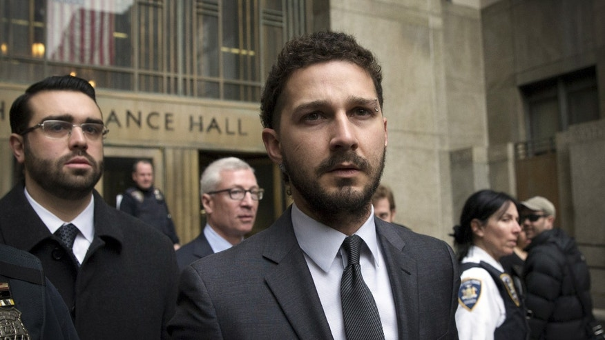 March 20, 2015. Actor Shia LaBeouf exits the Manhattan Criminal Courthouse following an appearance in New York.