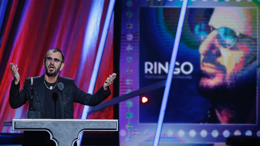 April 19, 2015.  Ringo Starr speaks at the Rock and Roll Hall of Fame Induction Ceremony Sunday, April 19, 2015, in Cleveland.