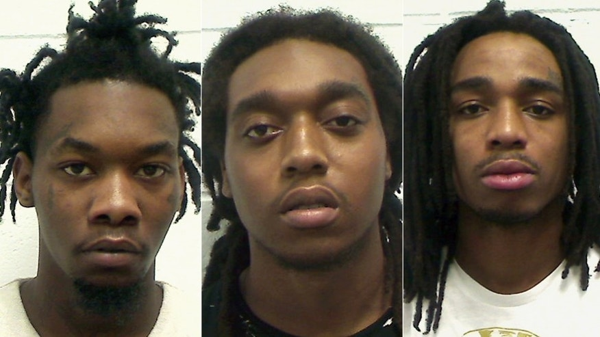 Kiari Cephus (left), Kirschnick Ball (center) and Quavious Marshall of the bang Migos appear in mug shots.