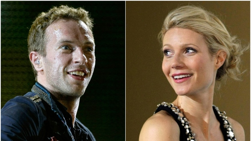 """Combo picture of singer Chris Martin of Coldplay performing during a concert  on September 4, 2009 and actress Gwyneth Paltrow posing during the premiere of her film """"Iron Man"""" in Berlin April 22, 2008."""