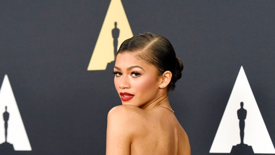 November 8, 2014. Zendaya poses during the Academy of Motion Picture Arts and Sciences Governors Awards in Los Angeles, California.