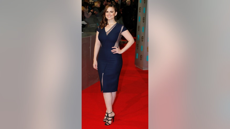 Actress Hayley Atwell arrives at the British Academy of Film and Arts (BAFTA) awards ceremony at the Royal Opera House in London February 8, 2015. REUTERS/Suzanne Plunkett (BRITAIN - Tags: ENTERTAINMENT) - RTR4OPDX