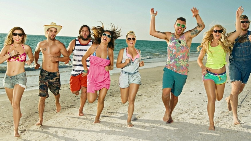 "The cast of CMT's ""Party Down South 2"" from left: Ashton, Tommy, Hunter, Karynda, Raven, Bradley Mitchell, Kelsie and Duke."