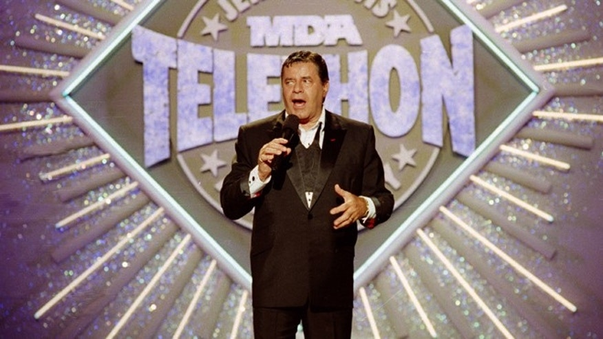 Sept. 2, 1990. Jerry Lewis makes his opening remarks at the 25th Anniversary of the Jerry Lewis MDA Labor Day Telethon fundraiser in Los Angeles.