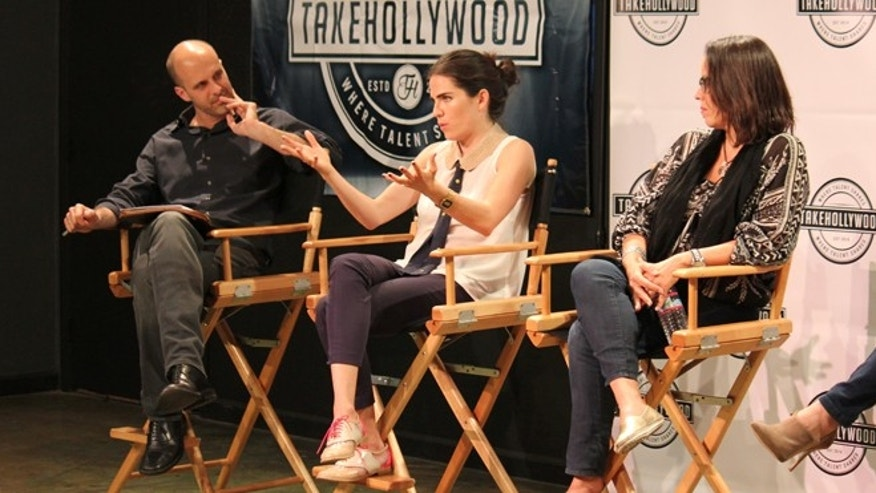 From Left: Takehollywood cofounder EdoardoPonti, actress Karla Souza and Mexican film director Patricia Riggen at a Takehollywood live panel, April 29, 2015. (Photo: Courtesy Takehollywood)