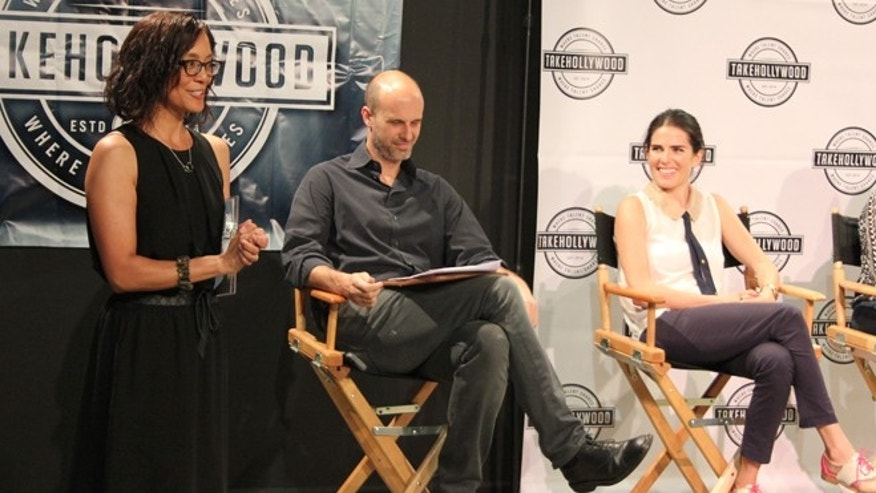 From Left: Takehollywood CEO Yasmin Naboa, cofounder EdoardoPonti and actress Karla Souza at a Takehollywood live panel, April 29, 2015. (Photo: Courtesy Takehollywood)