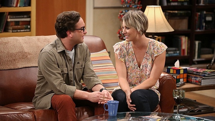 "Johnny Galecki (left) as Leonard and Kaley Cuoco-Sweeting as Penny on CBS' ""The Big Bang Theory."""