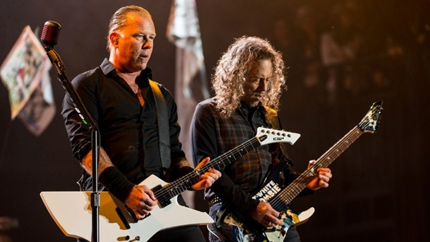 James Hetfield and Kirk Hammettof Metallica performs on the Pyramid stage during Day 2 of the Glastonbury Festival at Worthy Farm on June 28, 2014 in Glastonbury, England.  (Photo by Ian Gavan/Getty Images)