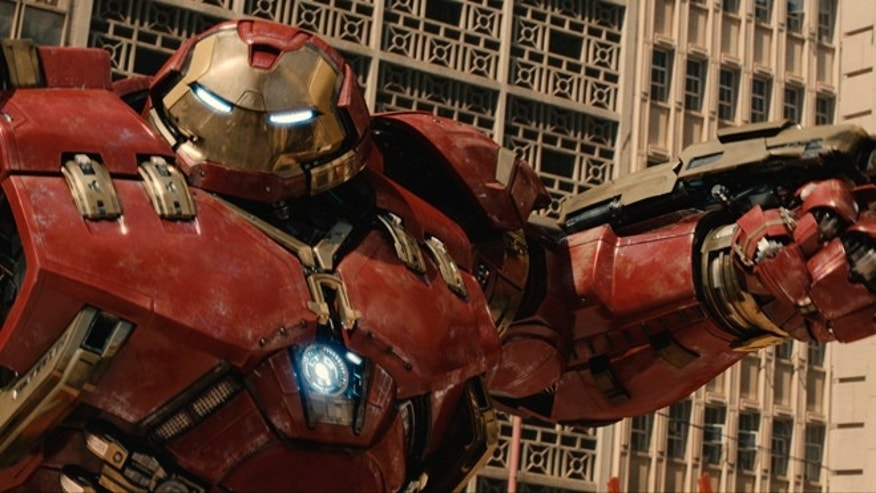 "This photo provided by Disney/Marvel shows, Hulkbuster in a scene from the new film, ""Avengers: Age Of Ultron."""