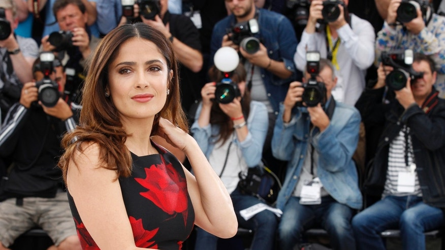"May 14, 2015.  Salma Hayek poses for photographers during a photo call for the film ""Tale of Tales,"" at the 68th international film festival, Cannes, southern France."