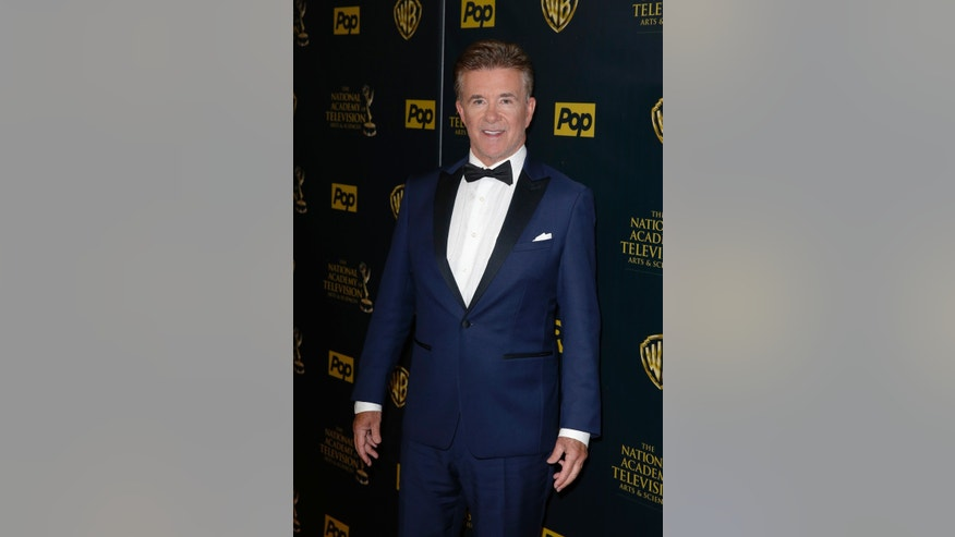 April 26, 2015. Actor Alan Thicke poses backstage at the 42nd Annual Daytime Emmy Awards in Burbank, California.