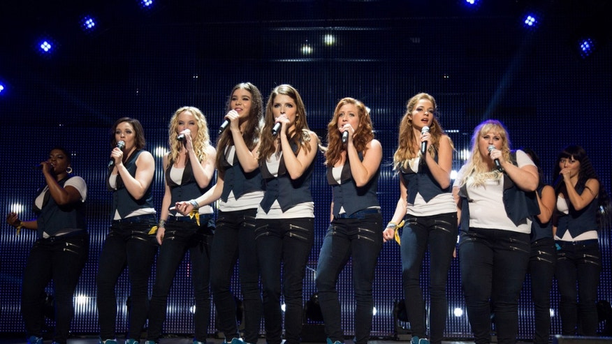 "From left, Ester Dean as Cynthia Rose, Shelley Regner as Ashley, Kelley Alice Jakle as Jessica, Hailee Steinfeld as Emily, Anna Kendrick as Beca, Brittany Snow as Chloe, Alexis Knapp as Stacie, Rebel Wilson as Fat Amy, and Hana Mae Lee as Lilly Anna Kendrick as Beca, as the Barden Bellas in a scene from the film, ""Pitch Perfect 2."""