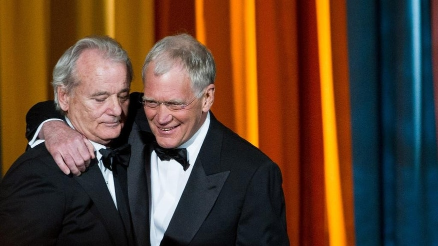 """FILE - In this March 26, 2011 file photo, Bill Murray, left, and David Letterman appear at the """"The Comedy Awards"""" presented by Comedy Central in New York. After 33 years in late night and 22 years hosting CBS' """"Late Show,"""" Letterman will retire on May 20. (AP Photo/Charles Sykes, File)"""