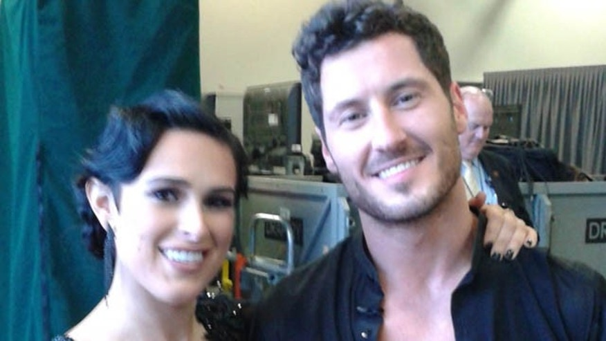 May 18, 2015: Rumer Willis poses with partner Val Chmerkovskiy after the first night of the 'Dancing With The Stars' live finale in Los Angeles (Carole Glines)