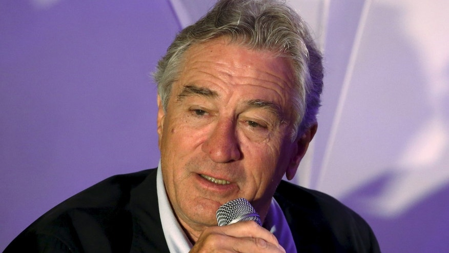 May 18, 2015. Robert de Niro speaks at a news conference during the opening of Nobu Hotel in Pasay city, Metro Manila in the Philippines.