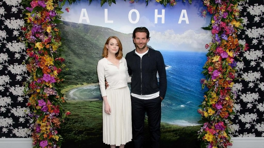 "FILE - In this Saturday, May 16, 2015, file photo, U.S actors Emma Stone, left, and Bradley Cooper pose for photographers at a photo call for the film, ""Aloha,"" in London. The Sony Pictures romantic comedy, which releases in U.S. theaters on May 29, 2015, is drawing criticism in Hawaii, where it was filmed. Some Native Hawaiians, including the state's film commissioner, are taking issue with using a Hawaiian word to title a mainstream Hollywood movie.  (Photo by Jonathan Short/Invision/AP, File)"