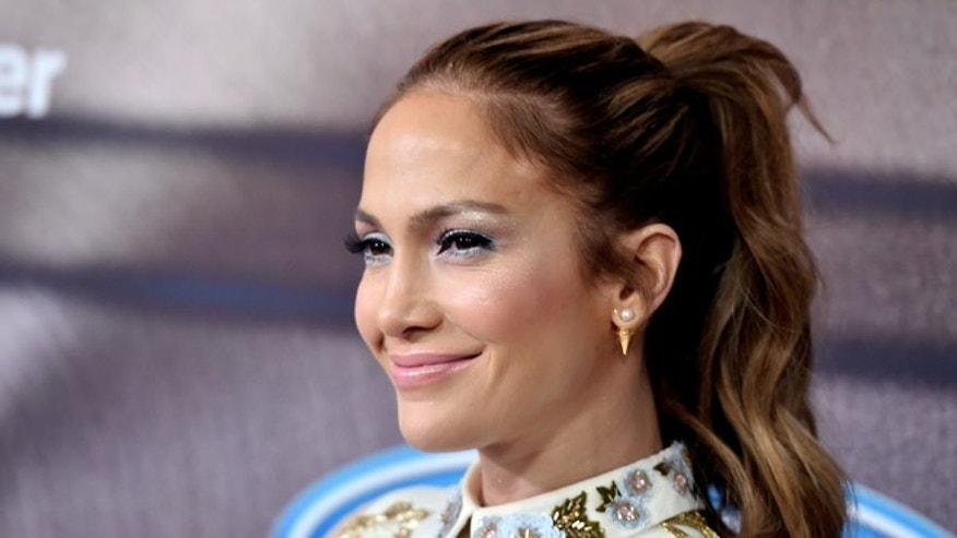 "Jennifer Lopez arrives at Fox's ""American Idol"" party at The District on March 11, 2015 in Los Angeles."