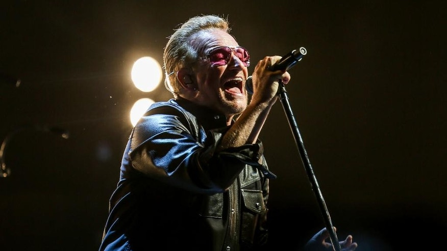 Bono of U2 performs at the Innocence + Experience Tour at The Forum on Tuesday, May 26, 2015, in Inglewood, Calif. (Photo by Rich Fury/Invision/AP)