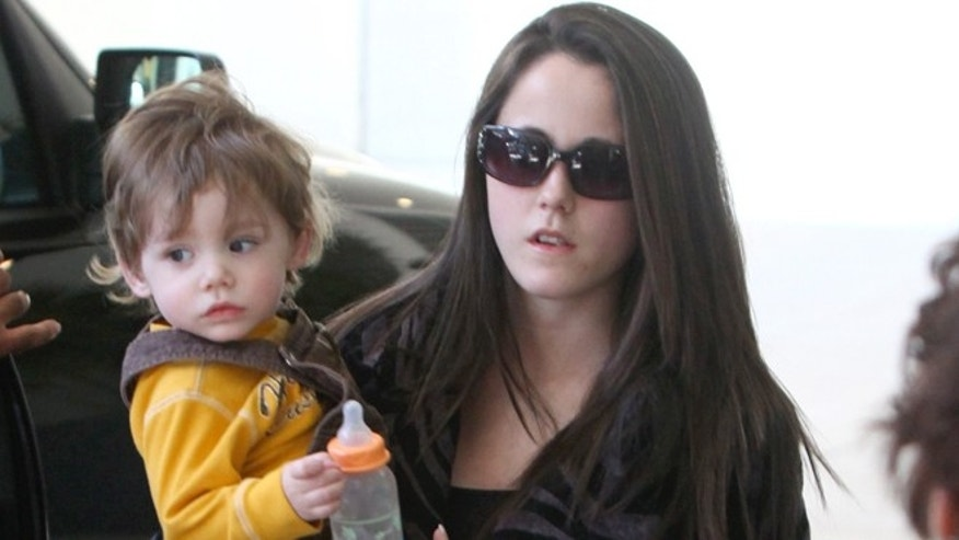 Jenelle Evans is seen with her son, Jace.