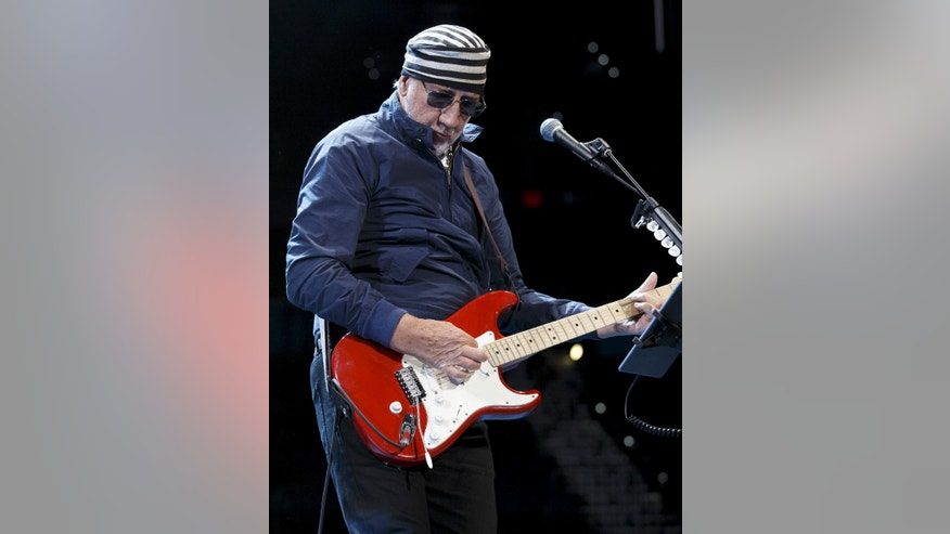 April 15, 2015. Pete Townshend of The Who performs during the opening night of their North American tour in Tampa, Florida.