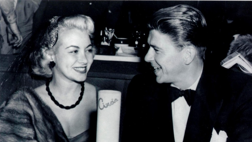 Actress Monica Lewis, left, and actor Ronald Reagan, at Ciro's in Los Angeles in an undated photo.