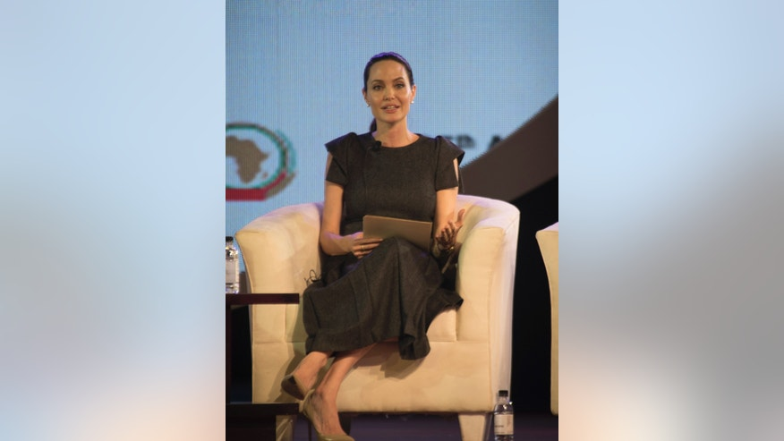 June 12, 2015. Hollywood actress and UN envoy on refugee issues, Angelina Jolie-Pitt,  attends a discussion ahead of this weekends AU Summit in Johannesburg.