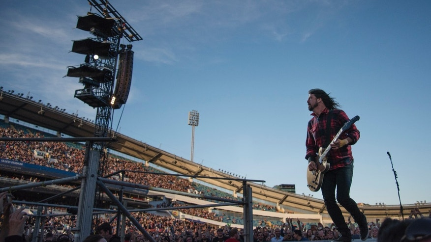 June 12, 2015. Foo Fighters' Dave Grohl  performs during the band's concert at Nya Ullevi, in Goteborg, Sweden.
