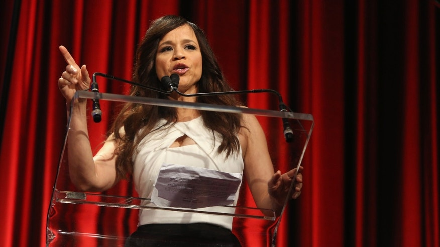 Rosie Perez speaks on stage at TrevorLIVE New York on June 15, 2015 in New York City.