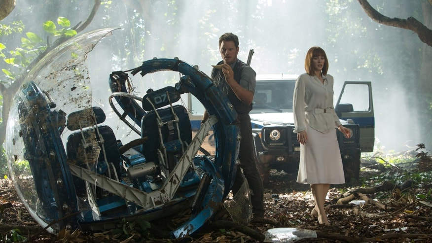 "Chris Pratt, left, and Bryce Dallas Howard in, ""Jurassic World."""