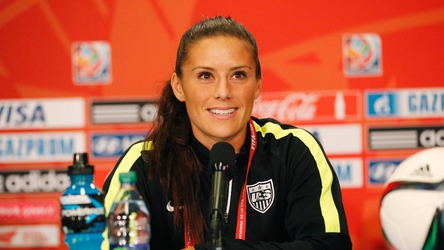 Jun 15, 2015; Vancouver , BC, CAN; United States defender Ali Krieger speaks to the media prior to a training session for the 2015 women's soccer World Cup at BC Place. Mandatory Credit: Michael Chow-USA TODAY Sports - RTX1GNIG