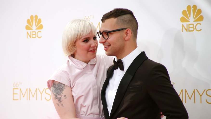Lena Dunham and Jack Antonoff arrive at the 66th Primetime Emmy Awards in Los Angeles, California.