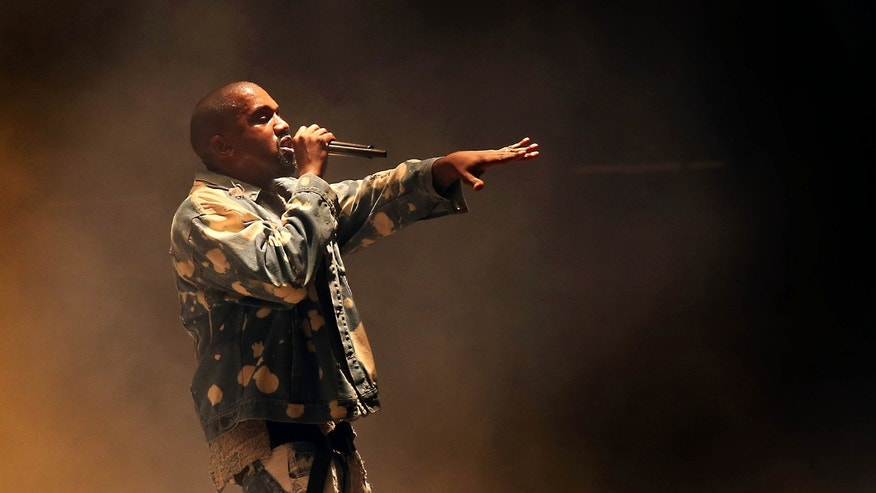 June 27, 2015. Kanye West performs on the main Pyramid stage during the Glastonbury music festival at Worthy Farm, Glastonbury, England.