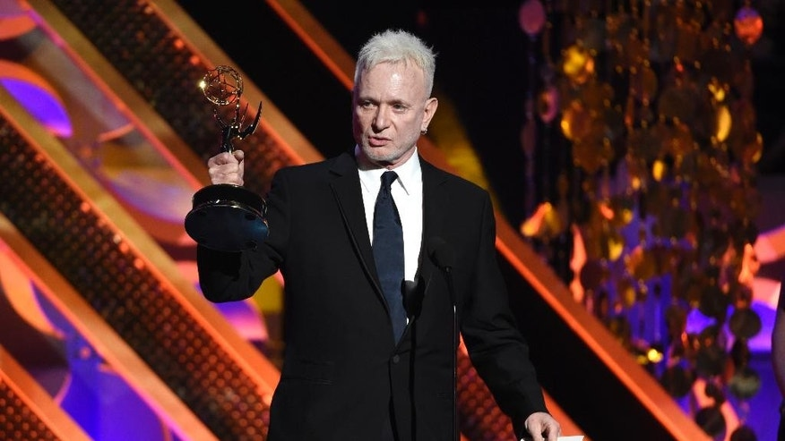 "FILE - In this April 26, 2015, file photo, Anthony Geary accepts the award for outstanding lead actor in a drama series for ""General Hospital,"" at the 42nd annual Daytime Emmy Awards in Burbank, Calif. After 37 years, Geary finishes his role as Luke Spencer on ABC's ""General Hospital"" on Monday, July 27, 2015. (Photo by Chris Pizzello/Invision/AP, File)"