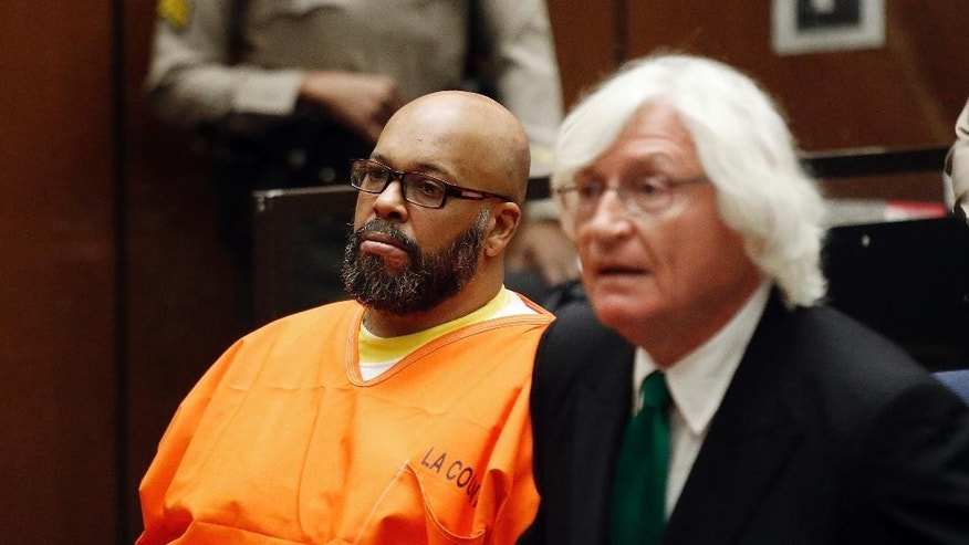 "FILE - In this Tuesday, July 7, 2015 photo, Marion Hugh ""Suge"" Knight, left, sits with his attorney Thomas Mesereau, in Los Angeles Superior  Court, during a hearing in a murder case filed against the Death Row Records co-founder. The former rap music mogul Knight returns to court on Friday, July 17, to ask that a judge reduce his bail on murder and attempted murder charges from $10 million.  (Patrick T. Fallon/Pool Photo via AP, File)"