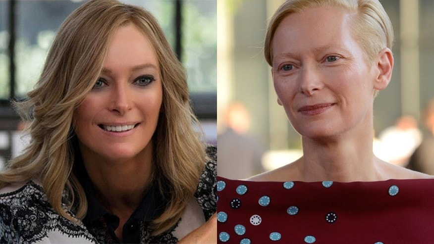 "Tilda Swinton appears in ""Trainwreck"" (left)."
