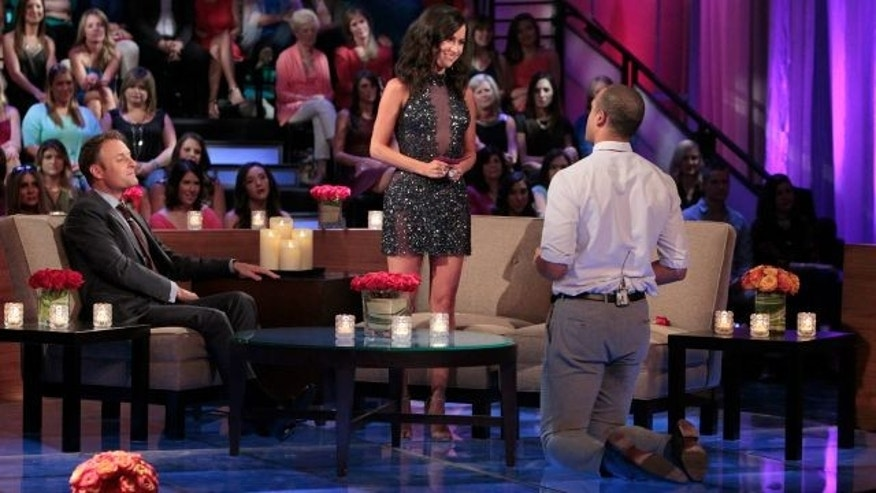"THE BACHELORETTE - ""The Bachelorette: The Men Tell All"" - It's an exciting, unpredictable reunion viewers won't want to miss as the most memorable bachelors from this season - including Ben H., Ben Z., Chris ""Cupcake,"" Ian and Jared -- return to confront each other and Kaitlyn one last time on national television to dish the dirt and tell their side of the story, on ""The Bachelorette: The Men Tell All,"" MONDAY, JULY 20 (8:00-10:01 p.m., ET), on the ABC Television Network. (ABC/Rick Rowell) CHRIS HARRISON, KAITLYN BRISTOWE, IAN"