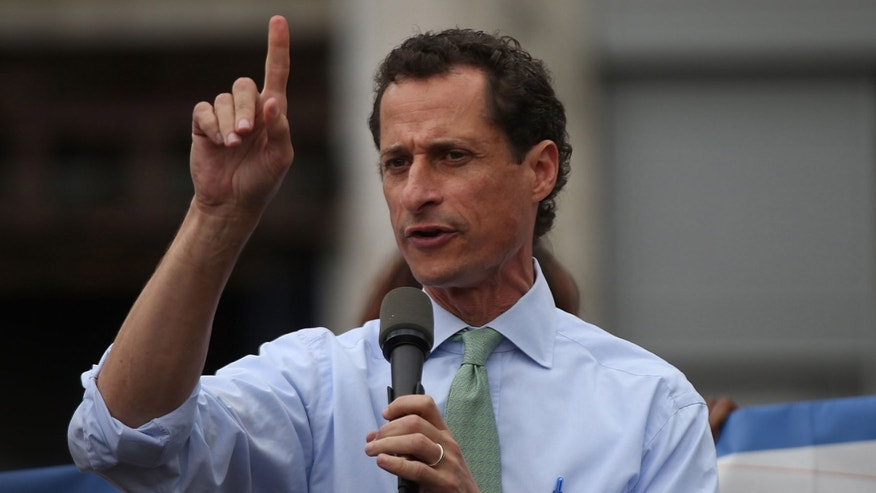 NEW YORK, NY - AUGUST 29:  Mayoral candidate Anthony Weiner speaks in Union Square in support of demonstrating fast food workers on August 29, 2013 in New York City. Across the country thousands of low-wage workers are expected to walk off their jobs Thursday at fast food establishments in several U.S. cities. Workers at KFC, Wendy's, Burger King, McDonald's and other restaurants are calling for a living wage of $15 an hour and the right to form a union without retaliation. In a poll released Wednesday by Quinnipiac University, Bill de Blasio is now close to the 40 percent threshold he'd need to avoid a runoff in the Democratic primary.  (Photo by Spencer Platt/Getty Images)