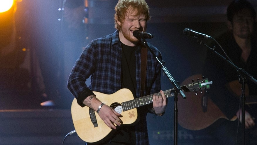 "British singer Ed Sheeran performs ""I Was Made To Love Her"" during the taping of ""Stevie Wonder: Songs In The Key Of Life - An All-Star GRAMMY Salute"" concert at the Nokia Theatre in Los Angeles, California February 10, 2015."