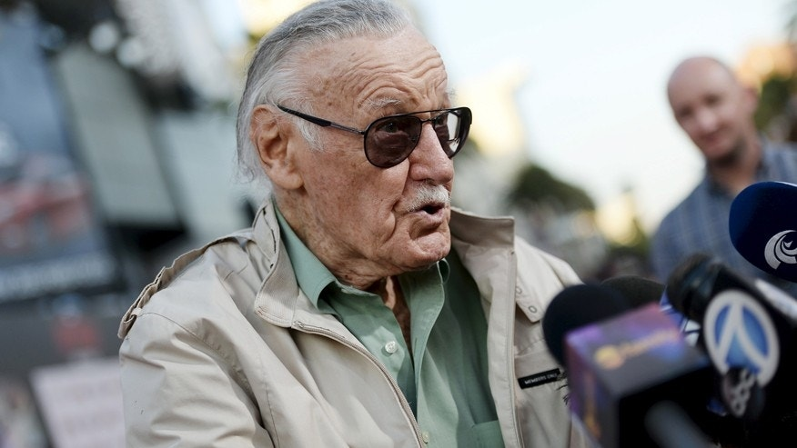 "Stan Lee, 92-year-old comic book legend, speaks to reporters during premiere of Marvel's ""Ant-Man"" in Hollywood, California June 29, 2015."