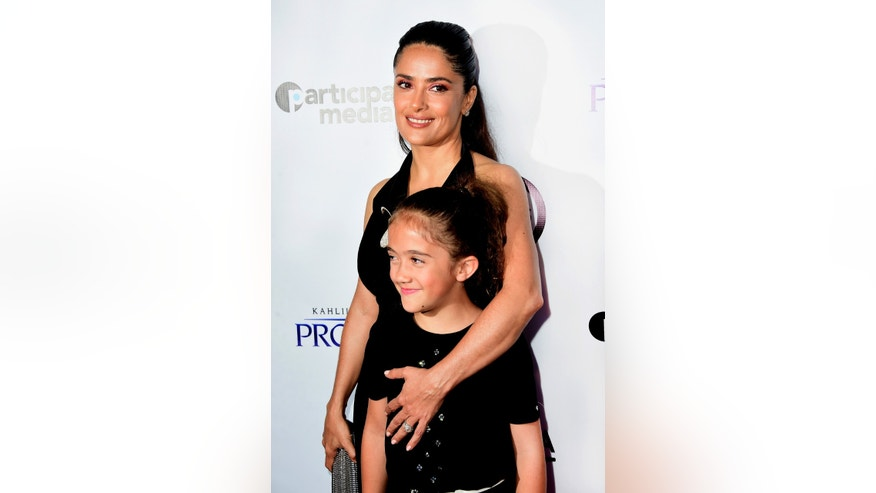 "LOS ANGELES, CA - JULY 29:  Actress Salma Hayek and daughter Valentina Paloma Pinault arrive at the Screening of GKIDS' ""Kahlil Gibran's The Prophet"" at Bing Theatre At LACMA on July 29, 2015 in Los Angeles, California.  (Photo by Frazer Harrison/Getty Images)"